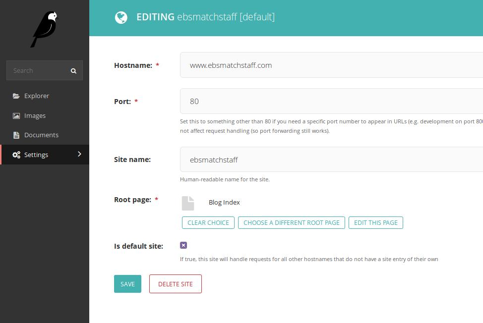 Wagtail admin sites screenshot